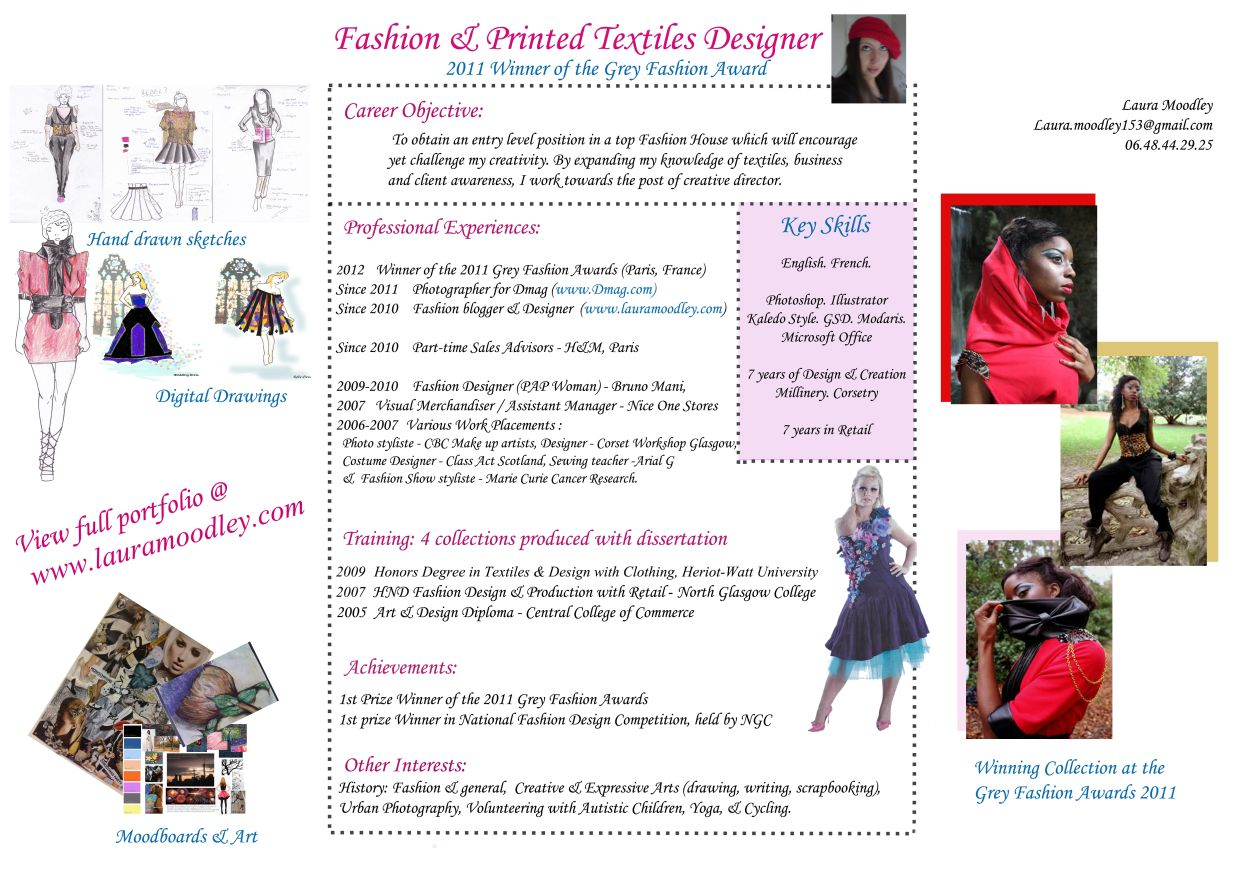 cv fashion designer paris    cv assistant fashion designer